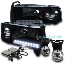 94-01 DODGE RAM DRL LED BLACK CRYSTAL HEADLIGHT LAMP W/DRIVING FOG LIGHT+6K HID