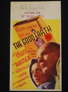 THE GOOD EARTH 1937 * PAUL MUNI * LUISE RAINER * BEAUTIFUL MIDGET WINDOW CARD!!