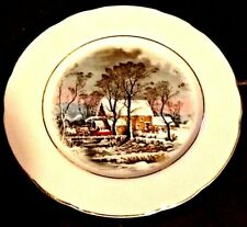 "1977 Currier & Ives The Old Grist Mill Avon Sales Rep Award 8"" Plate Gold edge"