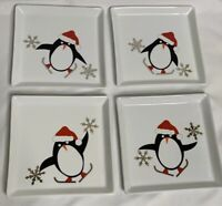 Crate & Barrel Penguin Santa Hat Christmas  Appetizer Plate Set of 4. Never Used