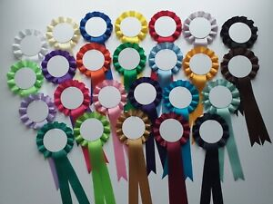 Blank rosettes, 10 rosettes per pack, personalised yourself Plain White Centre
