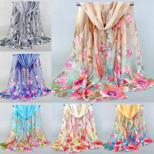 Fashion Women Flower Printed Chiffon Scarf Long Shawl Feather Scarves Soft Wrap