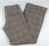 Gap Stretch Size 6 Beige With Pin Plaid Cuffed Wide Leg Womens Dress Pants WW2
