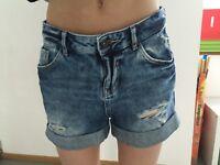 Boyfriend Jeans Short Blau Used Gr 34 Clockhouse Wie Neu