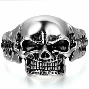 Mens Huge Heavy Skull Head Stainless Steel Cuff Bangle Bracelet Biker Wristband