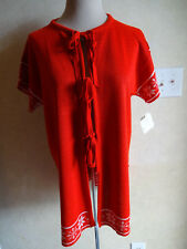 Vintage Womens Sweater 1970s Red Sherry Gale Abraham & Strauss L Snowflakes Nwt
