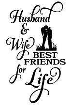 Husband & Wife Wine Bottle Decal / Sticker (bottle not included)