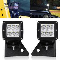 "3"" inch Cube LED Work Light Bar Square Pod Lamp w/ Bracket For Jeep Wrangler YJ"