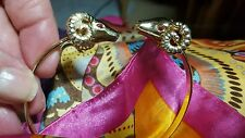 Rams Head Bracelet with Tiny Faux Ruby Eyes Gold Pl. Very Nice