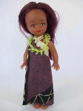 """Vintage HAWAIIAN HULA GIRL DOLL 11"""" in Dress (dancer toy Hawaii skirt)"""