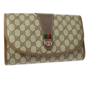 GUCCI PARFUMS Sherry Line GG Clutch Bag Brown PVC Leather Vintage AK31553j