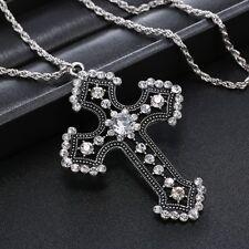 Fashion Style Vintage Alloy Hollow Rhinestone Cross Pendant Necklaces Jewelry