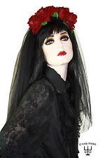 Gothic romantischer Haarreif mit Tüll Schleier und Samt Rosen dunkelrot Hochzeit