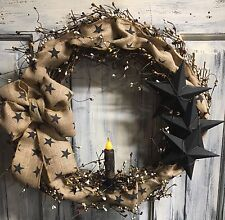 "18"" Primitive Country Black Star Wreath"