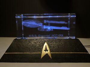Star Trek U.S.S. Enterprise NCC-1701 Laser Etched Glass Block Bradford Exchange