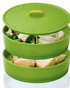 Chef'n SteamSum Stackable 3 Tier Steamer, Green, 26 x 26 x 16 cm CLEARANCE SALE