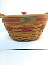 Longaberger Christmas Collection 1999 Edition Red Popcorn Basket N Liners Signed