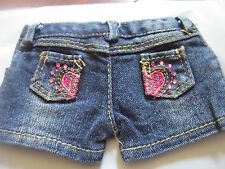 """Denim Shorts with Rhinestone Hearts fits 18"""" American Girl Doll Clothes"""