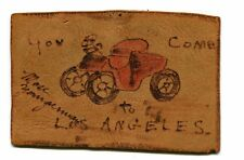 Vintage Postcard Handmade Leather Rebus U AUTO COME TO LOS ANGELES 1904