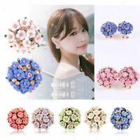 Elegant Women's Flower Crystal Rhinestone Ear Stud Fashion Earrings Jewelry