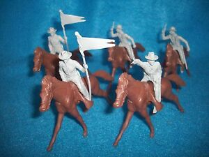 """Marx reissue 54mm """"long coat"""" cavalry w/ horses-Gray -plainswars or Confederate"""