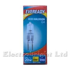 20x 16W=20W Watt EVEREADY G4 DIMMABLE ECO HALOGEN LIGHT BULBS LAMPS CAPSULES UK
