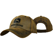 JOHN DEERE *BROWN OILSKIN LOOK* Trademark LOGO HAT CAP *BRAND NEW*