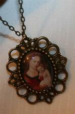 Picot Brasstone Renaissance Painting Mother Mary & Christ Cameo Medal Necklace