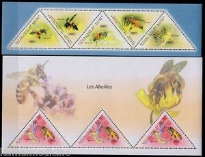 Guinea 2011 MNH 2 SS set, Honey Bees, Insects, Odd unusual Triangle Stamps