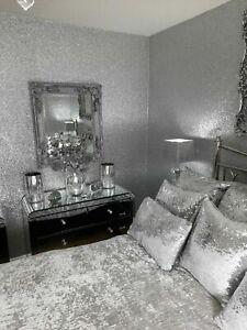 Chunky Silver Glitter Wallpaper Fabric Backed Grade 3 3D PER METRE