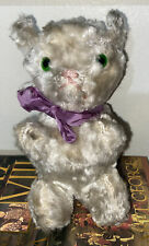 Antique White Mohair Stuffed Cat Green Glass Eyes Pink Stitched Nose Steiff?