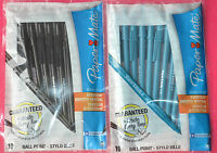 Papermate 10 Pack 'Write Bros' Smooth Writing Ball Point Pens In Black Or Blue