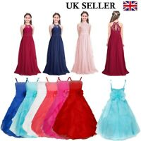 UK Flower Girls Bridesmaid Dress Wedding Birthday Party Prom Chiffon Tutu Gown