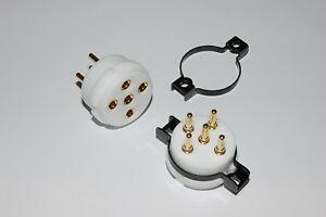 Europa-Fassung 2x Europa tube socket high-precision gold-terminals-teflon-body