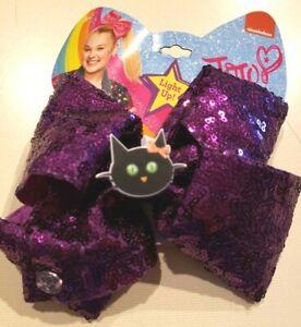NEW JOJO SIWA HALLOWEEN SEQUIN HAIR BOW BLACK CAT CLIP GIRLS WOMEN LIGHTS UP!!