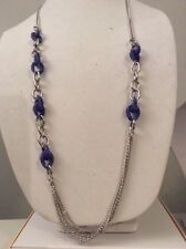 $75 Betsey Johnson Sparkle Link Blue Long  Necklace Cobalt Crystals Mesh w 27