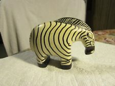 Genuine Vintage~+Heavy~[Zebra]~ [Hand Painted&Carved] Soapstone -Made In Kenya
