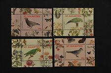 Sint Maarten   vogel en bloemen 9-12     4 blokjes postfris
