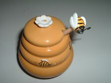 Vintage Ceramic Honey Pot with Flowers and Bee on lid, wood dipper