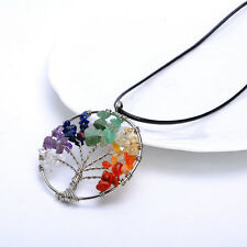 Retro Tree of Life Charm Pendant Crystal Quartz Leather Cord Choker Necklace