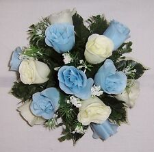 wedding flowers guest table decoration baby blue & ivory roses & gyp