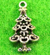 50Pcs. WHOLESALE Tibetan Silver CHRISTMAS TREE Charms Pendants Ear Drops Q0246