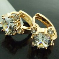 HUGGIE HOOP EARRINGS REAL 18K YELLOW G/F GOLD GENUINE DIAMOND SIMULATED DESIGN