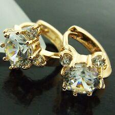 HUGGIE HOOP EARRINGS REAL 18K YELLOW G/F GOLD GENUINE DIAMOND SIMULATED DESIGN