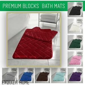 Memory Foam Block Bath Mat Set 2PCS Non Slip Pedestal Toilet Bathroom Rug Set