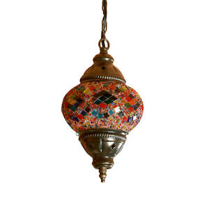 Single Chandelier Handmade Mosaic Hanging Lamp Light Ceiling Stained Glass
