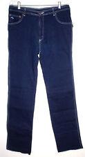 Mark Well Womens Sz 42 Blue Jeans Straight Leg Blue Embroidery Stretch Raw Edge