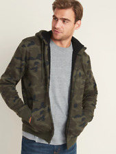 OLD NAVY Camo-Print Sherpa-Lined Zip Hoodie for Men sz XL NWOT