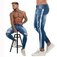 Gingtto Men Jeans Side Stripe Super Stretch Fashion Slim Fit Skinny Washed Pants