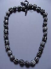 Hawaiian Black Tiger Kukui Nut Lei Luau Boho Bead Necklace